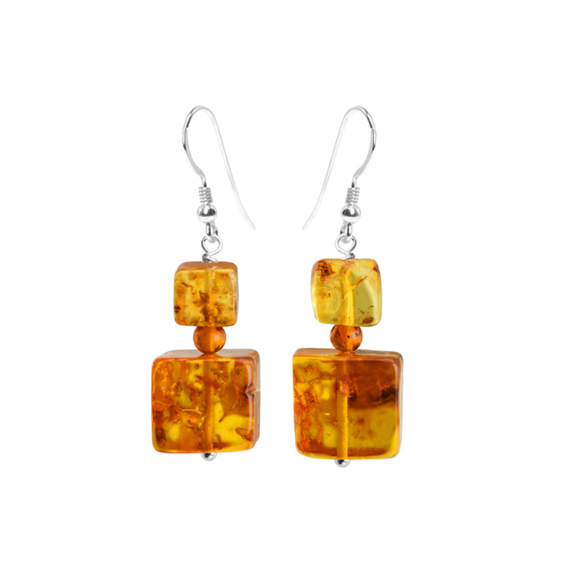 Flirty Cognac Baltic Amber Sterling Silver Earrings