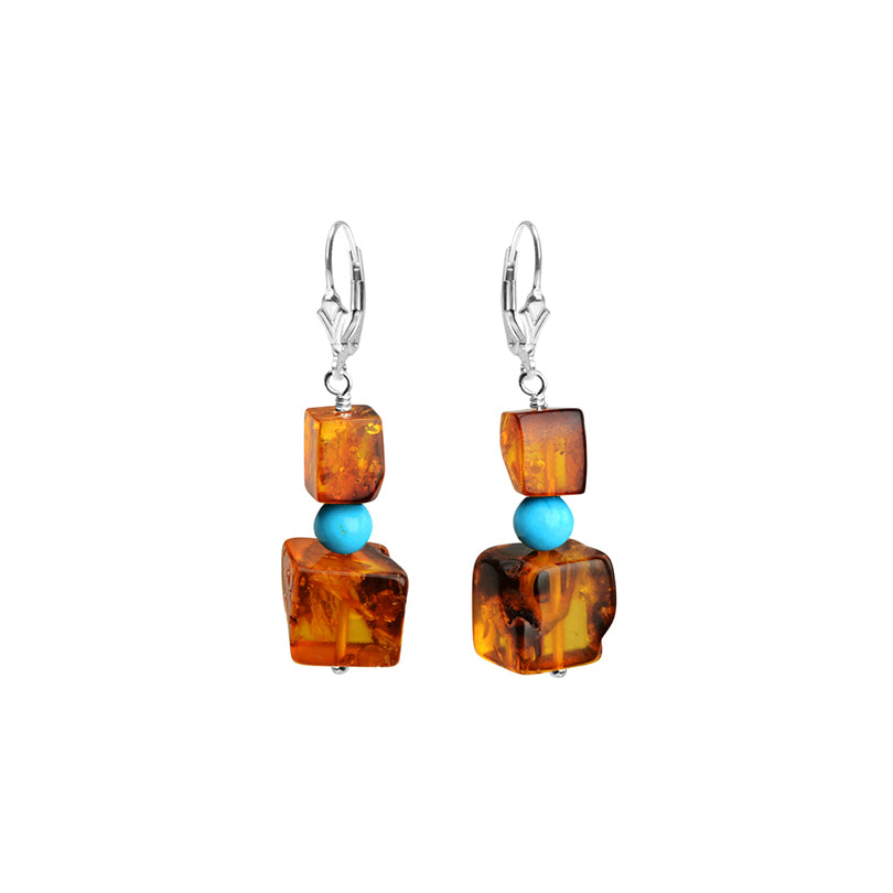Darling Cognac Baltic Amber and Sleeping Beauty Turquoise Sterling Silver Lever-Back Hook Earrings