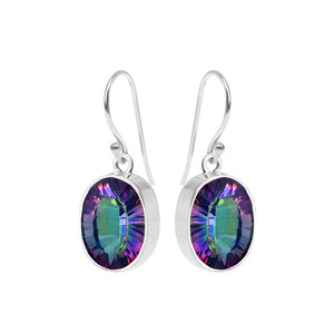 Sparkling Mystic Quartz Sterling Silver Oval Earrings