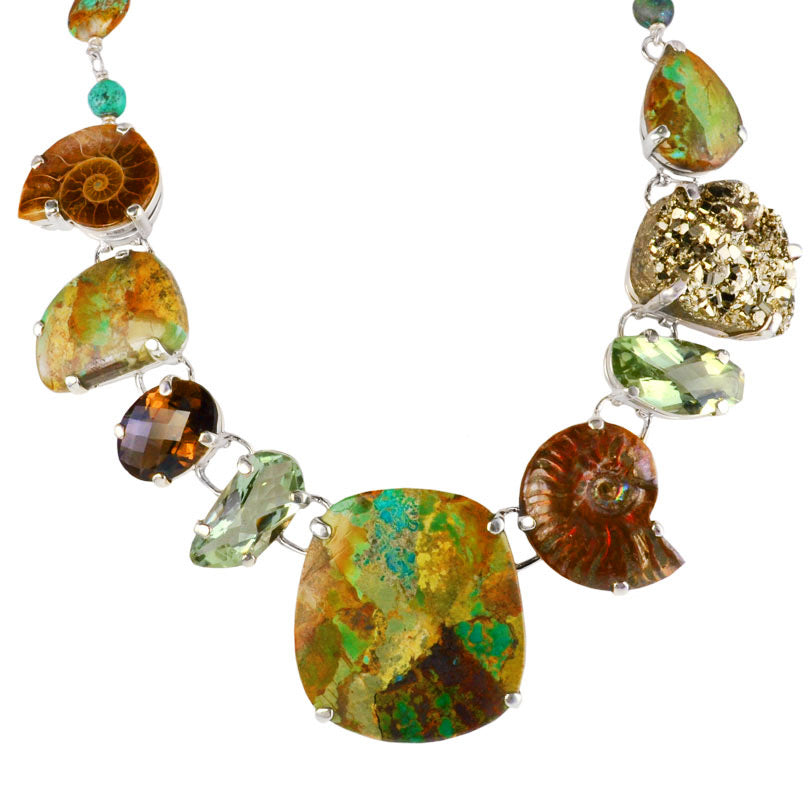 Magnificent Boulder Turquoise, Ammolite, Green Amethyst Sterling Silver Statement Necklace