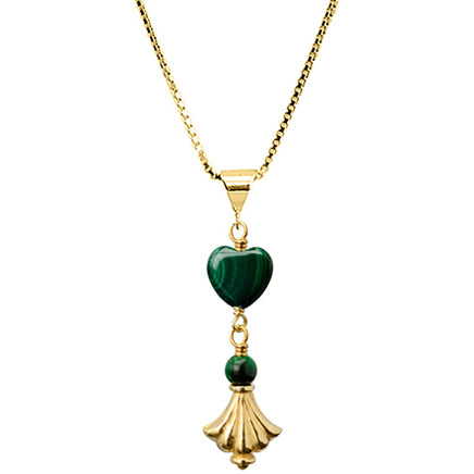 Darling, Petite Malachite Heart Gold Plated Sterling Silver Chain Necklace