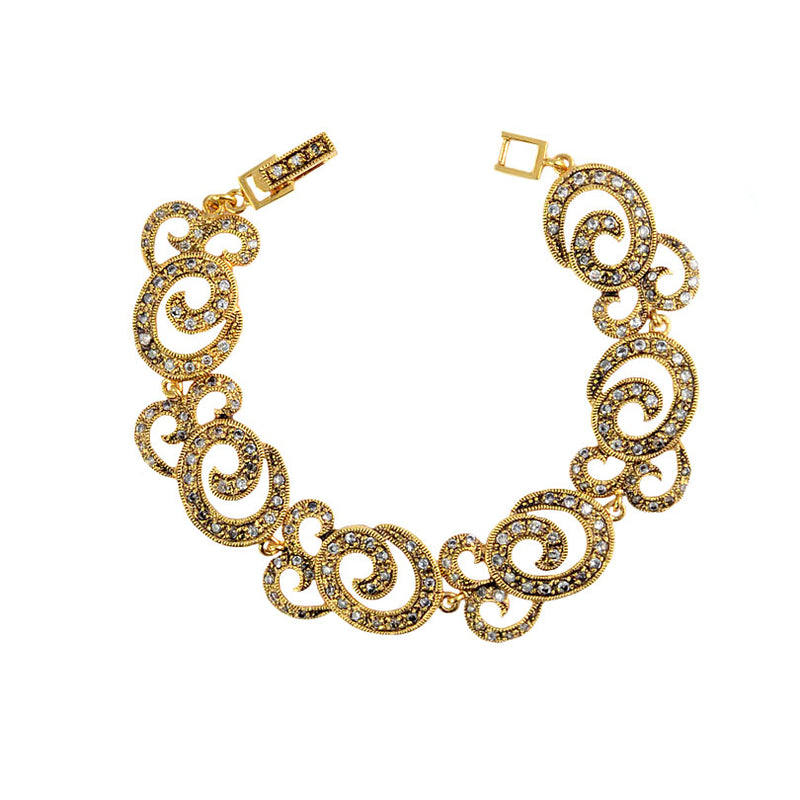 Shimmering 14kt Gold Plated Elegant Swirl Antiqued Finish Crystal Bracelet