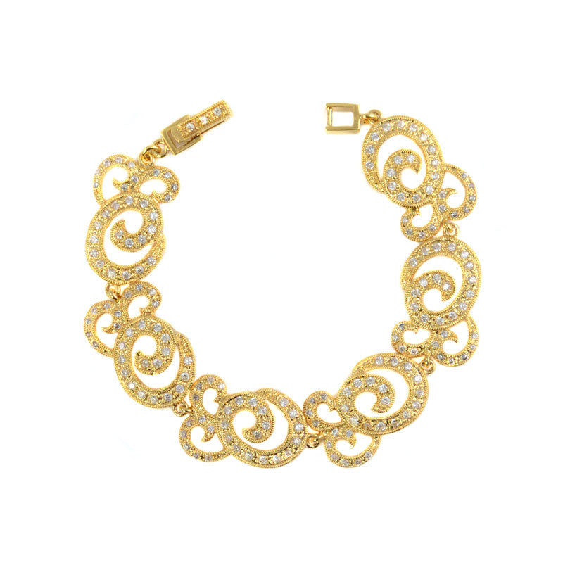 Glamorous Crystal CZ 14kt Gold Plated Statement Bracelet