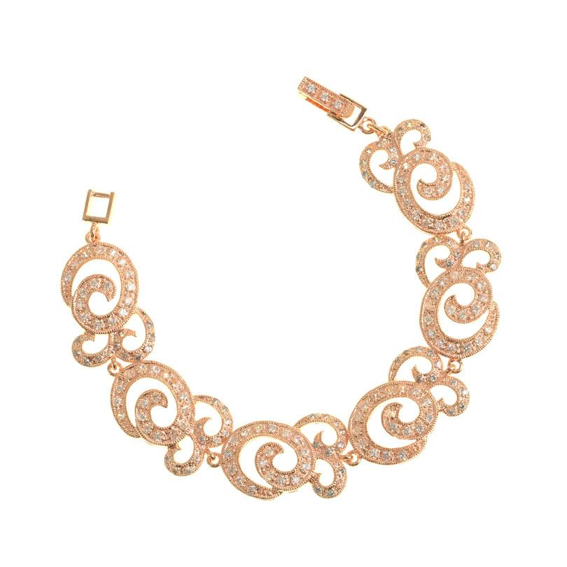 Glamorous Crystal CZ 14kt Rose Gold Plated Statement Bracelet