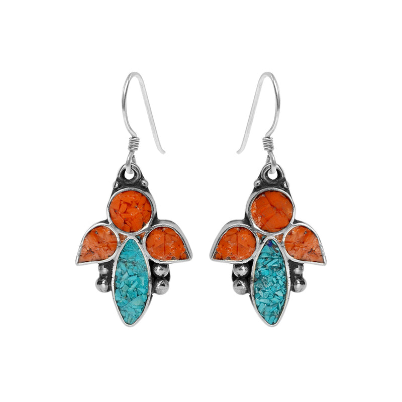 Sassy Nepal Design Himalayan Coral and Turquoise Double Silver Plated Earrings-sterling hooks
