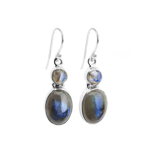 Shimmering Blue Labradorite Sterling Silver Earrings