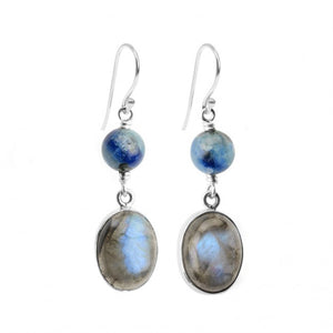 Dazzling Labradorite Kyanite Sterling Silver Earrings