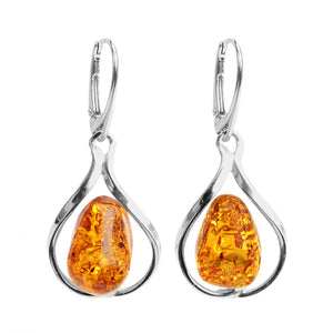 Alluring Modern Design Cognac Baltic Amber Sterling Silver Earrings