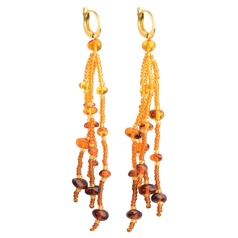 Ravishing Russian Baltic Amber Long Fringe Lever Back Earrings