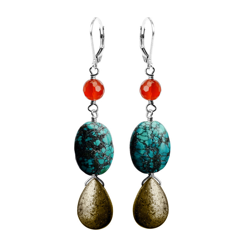 Unique Earthy Stones of Carnelian, Turquoise and Pyrite Sterling Silver Statement Earrings