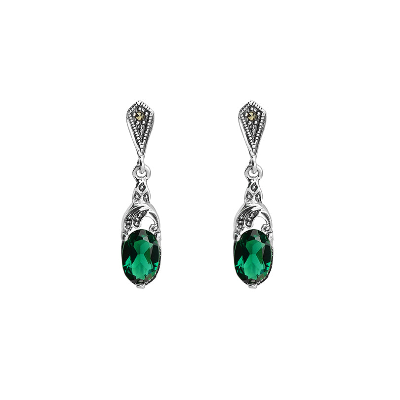 Petite Faceted Siberian Green Emerald Quartz and Marcasite Sterling Silver Earrings