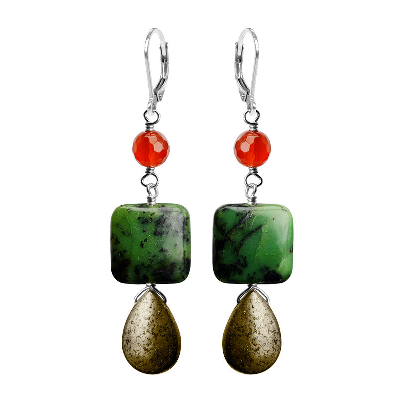 Stunning Combination of Jadeite, Pyrite and Carnelian Sterling Silver Statement Earrings