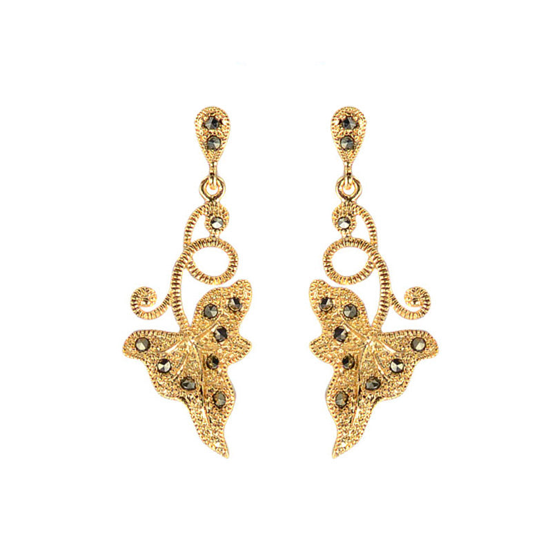 14kt Gold Plated Calla Lily Marcasite Leaf Earrings
