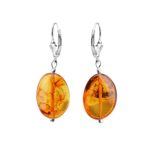 Lovely Small Cognac Baltic Amber Sterling Silver Lever Back Earrings