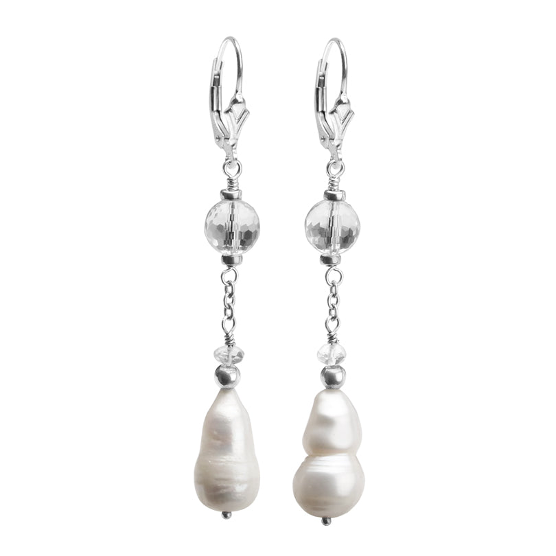 Unique Pearl and Crystal Quartz Drop Sterling Silver Lever Back Earrings