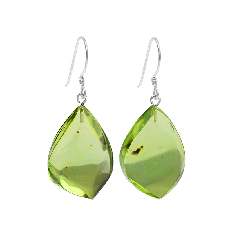 Beautiful Green Caribbean Amber Drops Sterling Silver Earrings