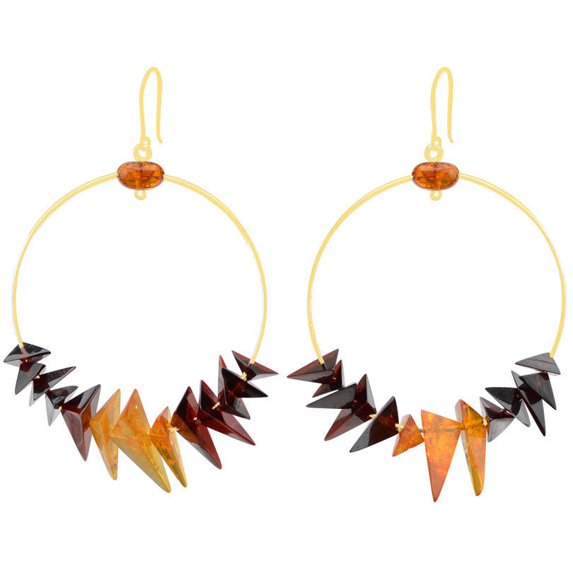 Chic Design Cherry and Cognac Baltic Amber Hoops - Available in Silver or Gold tone