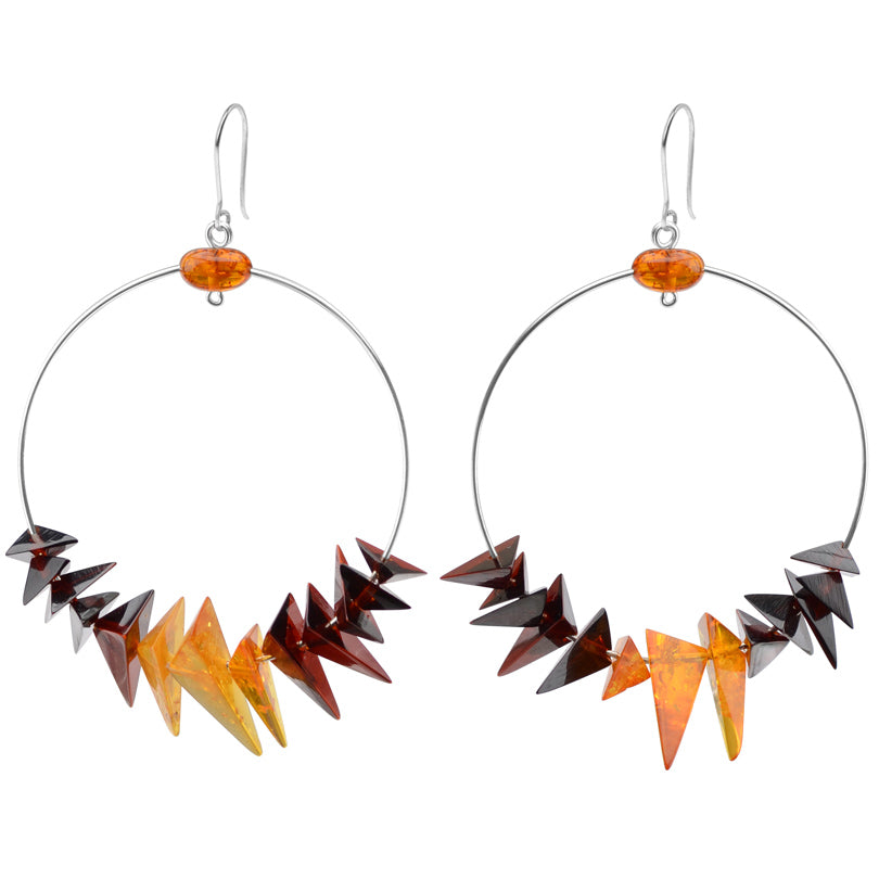 Chic Cherry and Cognac Baltic Amber Hoops