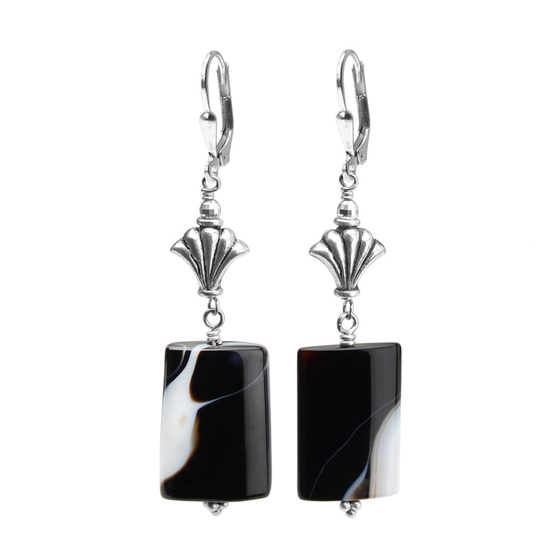 Uniquely Beautiful Black Onyx Banded Agate Sterling Silver Earrings