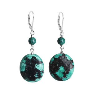 Exquisite Genuine Turquoise Sterling Silver Statement Earrings