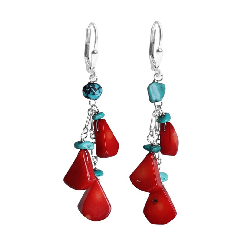 Beautiful Coral and Genuine Turquoise Sterling Silver Earrings