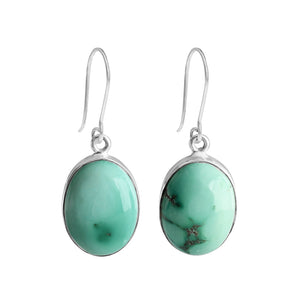 Amazing Genuine Creamy Blue Large Turquoise Stone Sterling Silver Statement Earrings