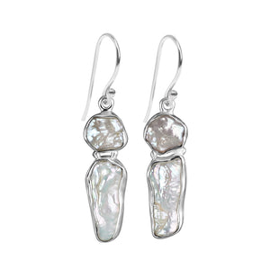 Glistening Fresh Water Pearl Sterling Silver Earrings