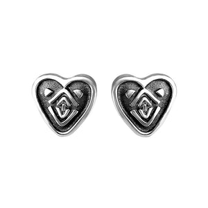 Fashionably Tiny deGruchy Sterling Silver Heart Stud Earrings