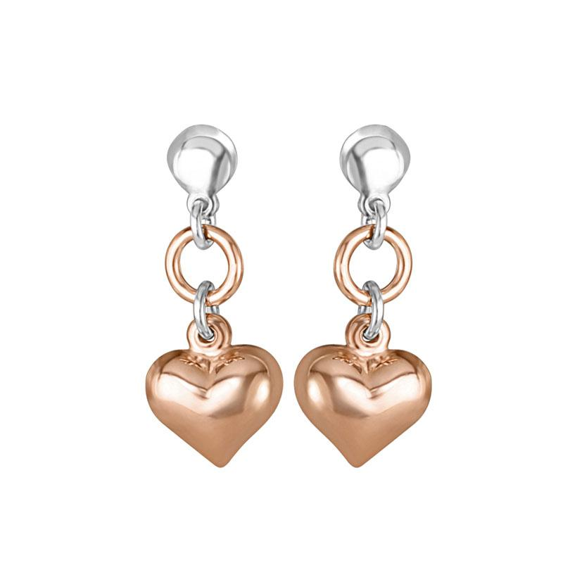 Petite Puffed Heart Italian Earrings in Rhodium and Rose Gold Plated Silver