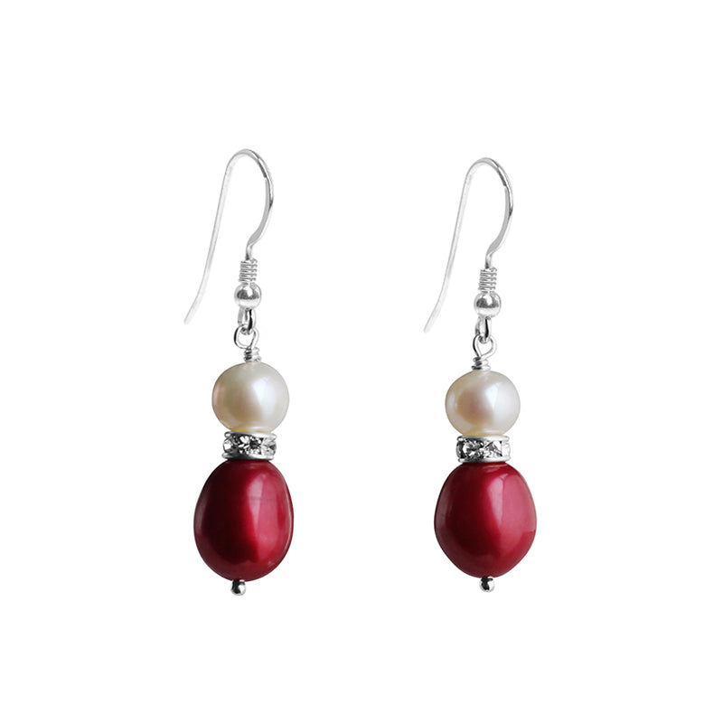 So Elegant! Fresh Water Pearl and Crystal Sterling Silver Earrings