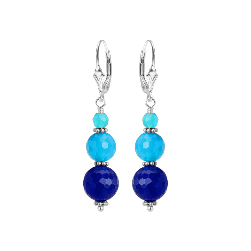 Beautiful Mixed Colors of Blue Agate Sterling Silver Earrings