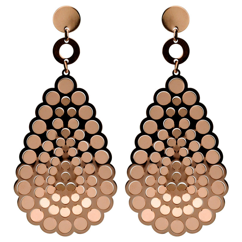 Glistening Rose Gold Plated Sterling Silver Italian Laser Cut Italian Earrings-only one pair available