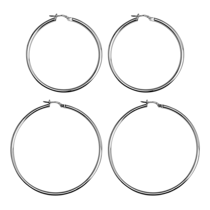 Classic Rhodium Plated Sterling Silver Italian Hoops