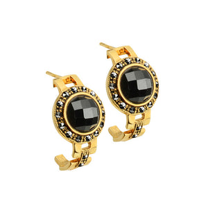 Black Onyx and Marcasite Gold Plated Earrings