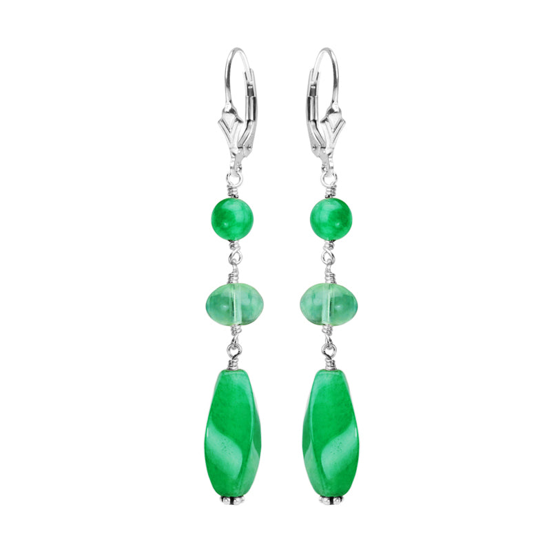 Vibrant Green Agate and Fluorite Sterling Silver Earrings