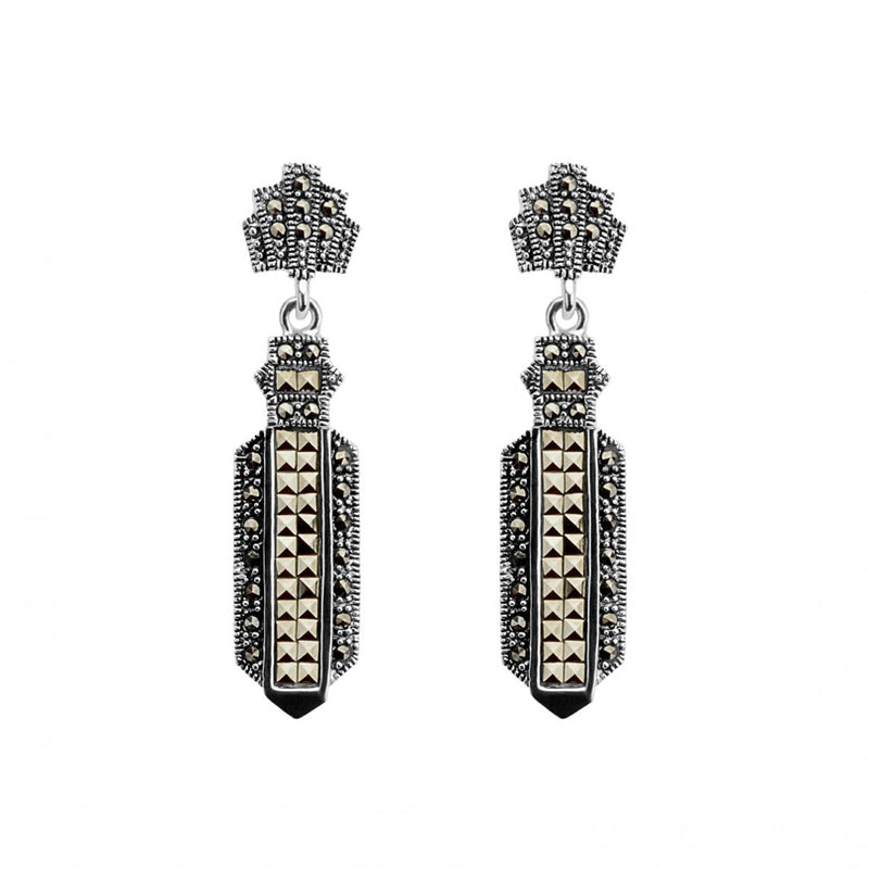 Chic Design Sterling Silver Marcasite Earrings