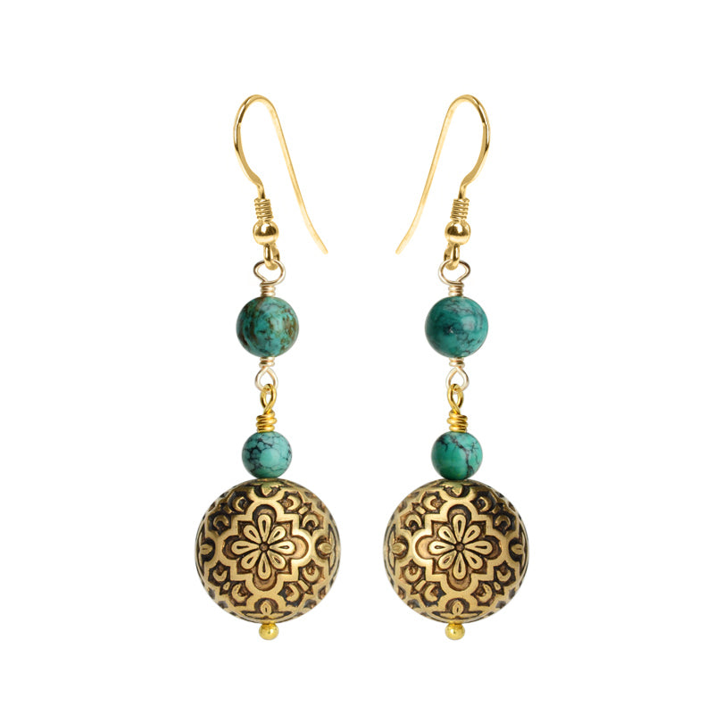 Vintage Designed Brass Spheres with Genuine Turquoise And Gold Filled Hook Earrings