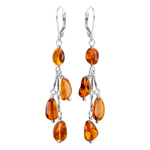 Delicate Cognac Baltic Amber Sterling Silver Earrings