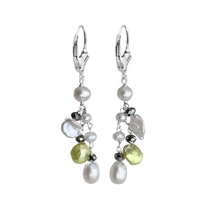 Pretty Pastel Fresh Water Pearl and Sparkling Hematite Sterling Silver Earrings
