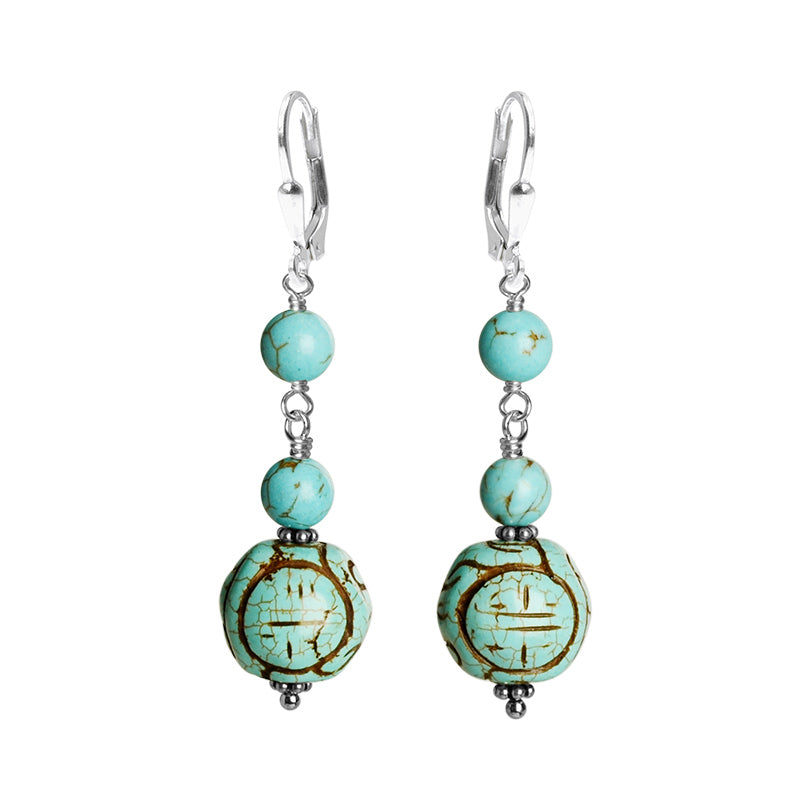 Lovely Sea Foam Blue Chalk Turquoise Sterling Silver Earrings