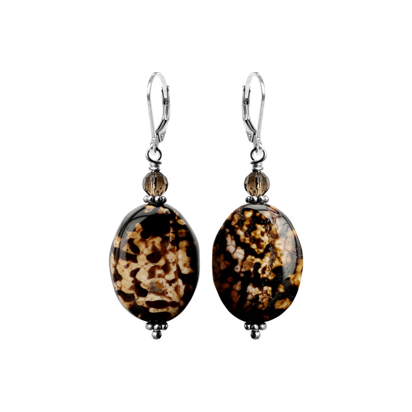 Leopard Print Agate and Smoky Quartz Sterling Silver Earrings