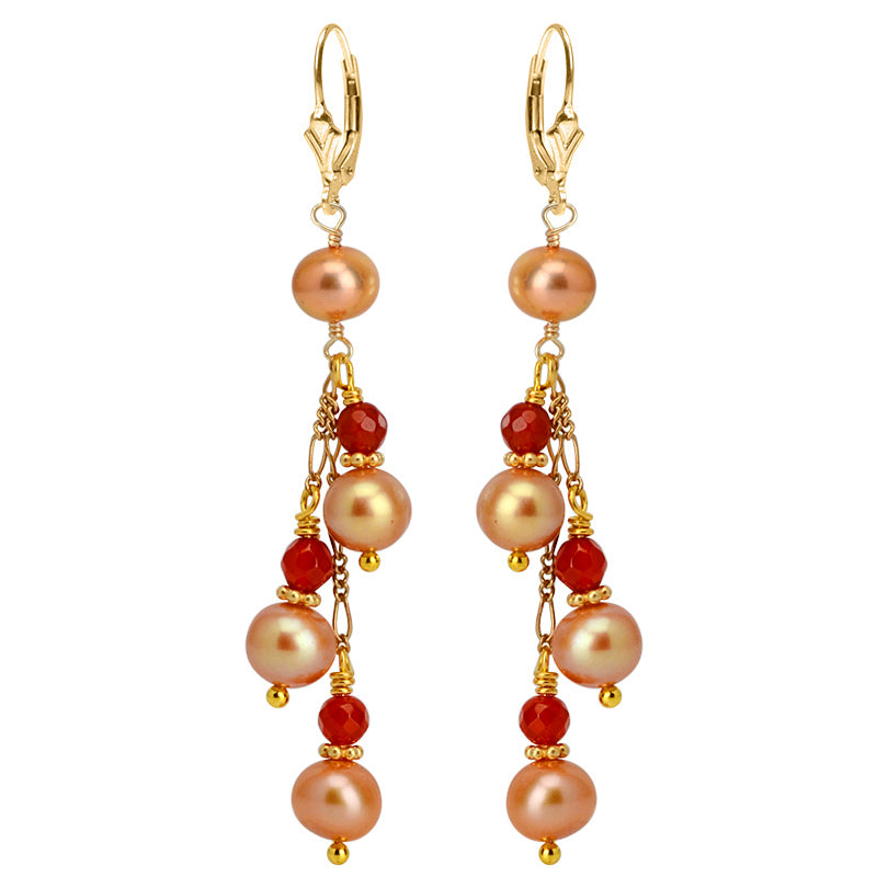 Beautiful Dusty Rose Fresh Water Pearl and Carnelian Sterling Silver Statement Earrings
