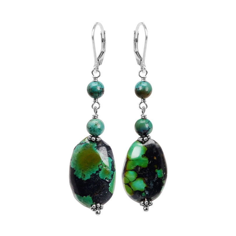 Luxurious Natural Turquoise Sterling Silver Earrings