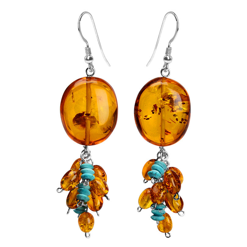 Sassy Cognac Baltic Amber and Turquoise Sterling Silver Earrings