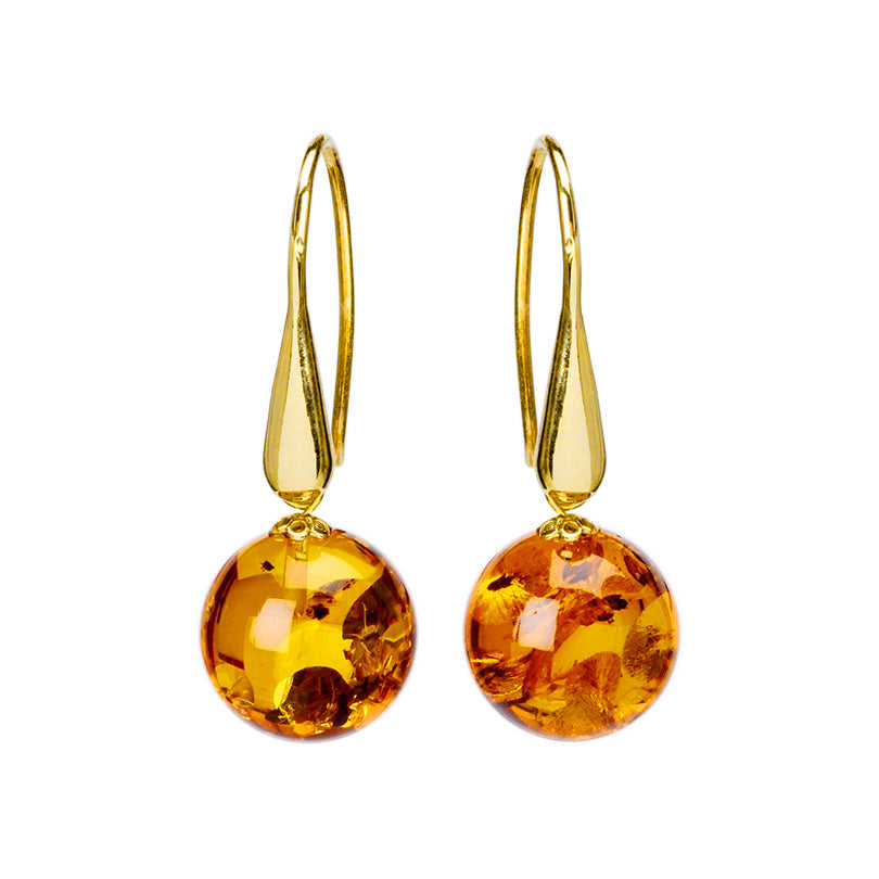 Absolutely Elegant Cognac Baltic Amber Gold Filled Earrings