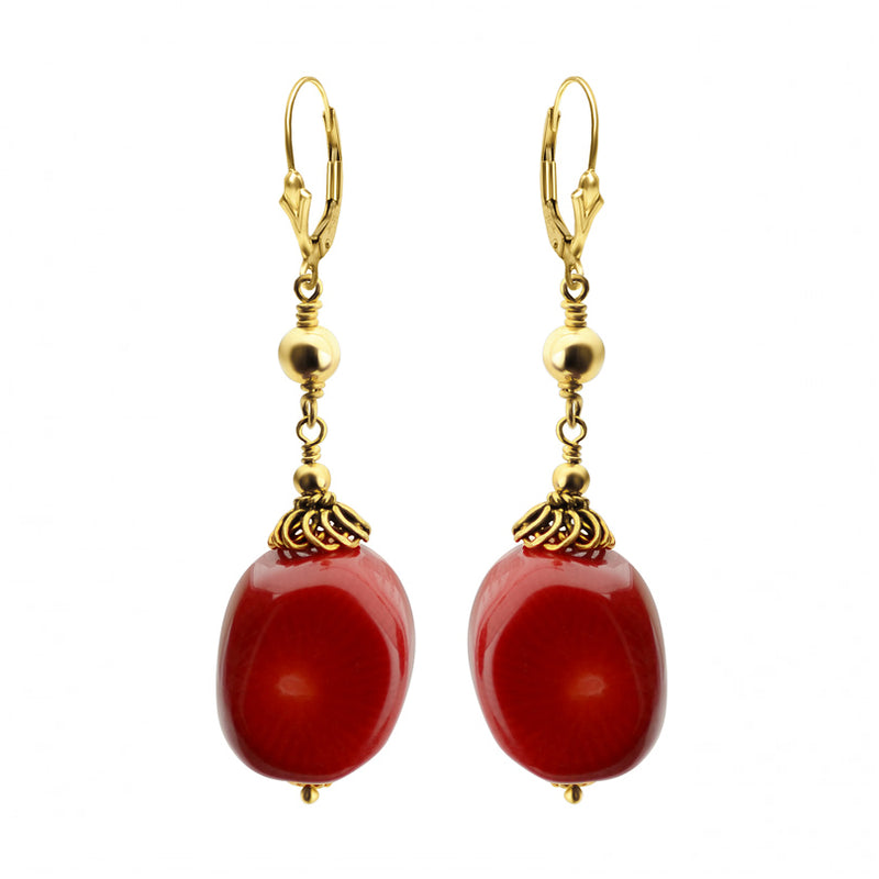 Rich Red Coral With French Filigree Design Gold Filled Earrings