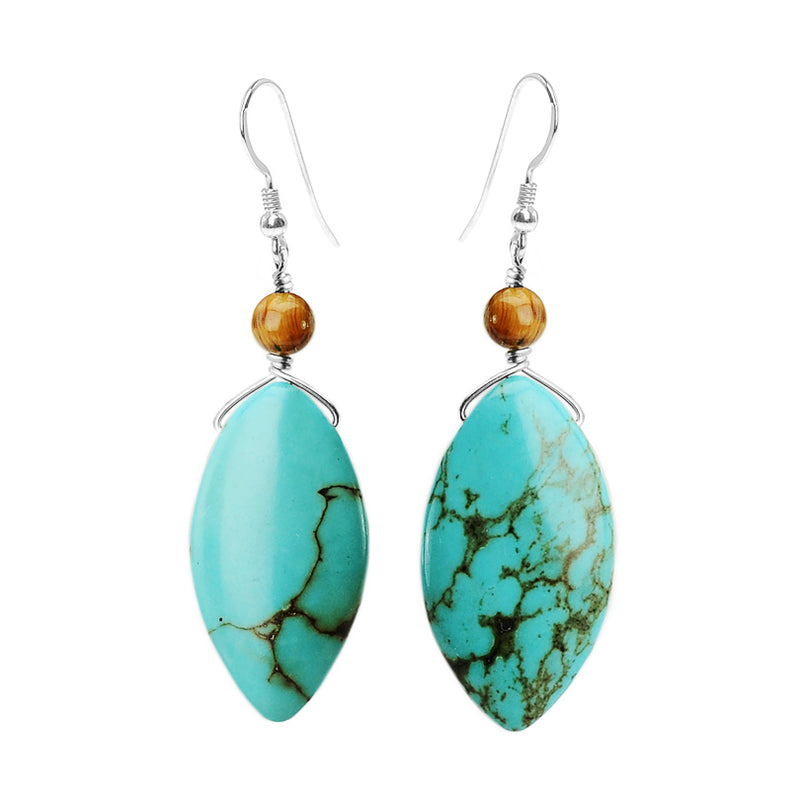 Glorious Chalk Turquoise Large Stones with Tiger's Eye Sterling Silver Earrings