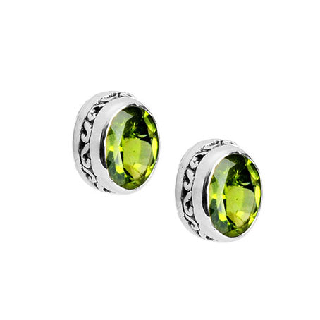 Sparkling, Luscious Lime Green Peridot Sterling Silver Stud Earrings