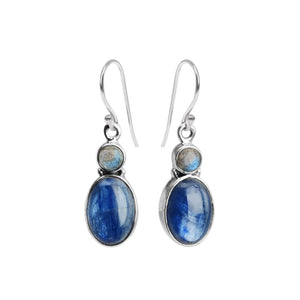Beautiful Natural Blue Kyanite and Moonstone Sterling Silver Earrings