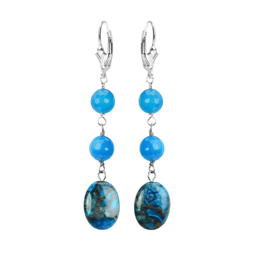 Delicious Blue Jasper and Agate Sterling Silver Earrings
